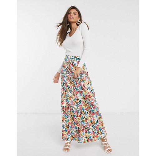 Jupe longue à motif fleuri vintage - Neon Rose - Modalova