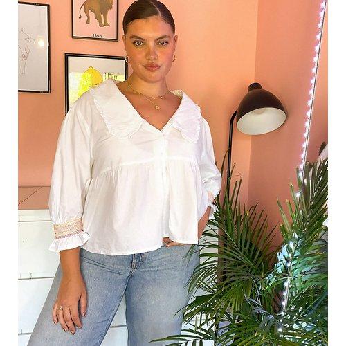 Chemise à basque et col claudineen coton - Neon Rose Plus - Modalova