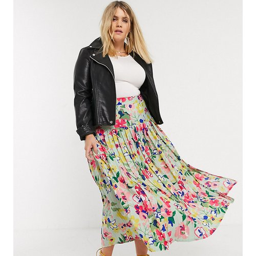 Jupe plissée taille basse longueur mollet à imprimé fleurs vintage - Neon Rose Plus - Modalova