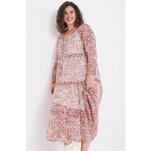 Robe babydoll longue oversize avec jupe à superpositions et imprimé petites fleurs - Neon Rose Plus - Modalova