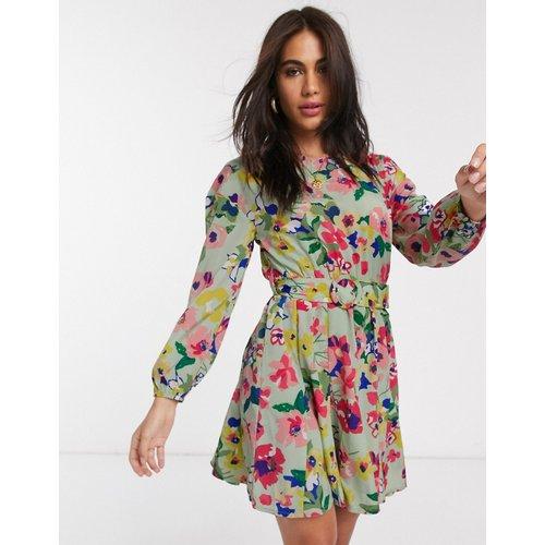Robe courte à ceinture avec jupe volumineuse à fleurs vintage - Neon Rose - Modalova