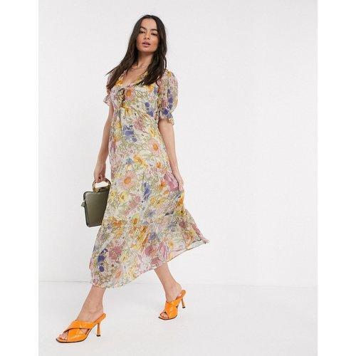 Robe longue avec jupe à superpositions et volant froncé motif fleurs vintage - Neon Rose - Modalova