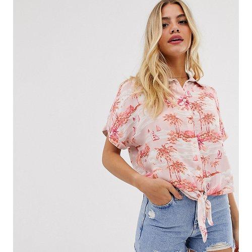 Chemise à imprimé tropical avec lien à nouer sur le devant - New Look - Modalova