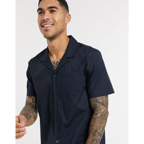 Chemise en popeline à revers avec manches courtes - Bleu marine - New Look - Modalova