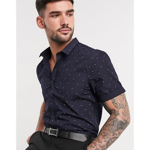 Chemise manches courtes en popeline à imprimé losanges - Bleu marine - New Look - Modalova