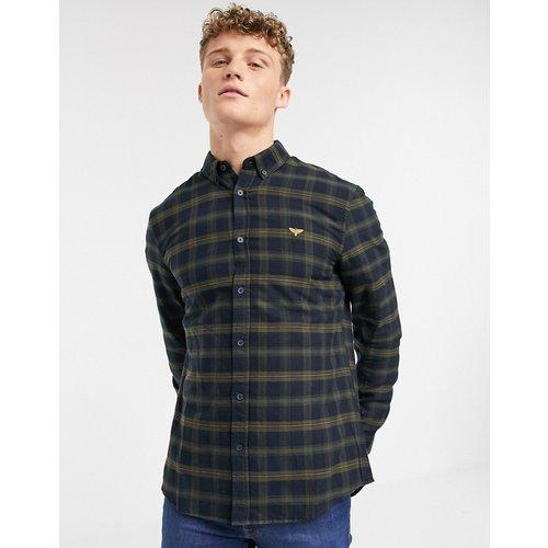 Chemise manches longues à carreaux et broderie sur la poitrine - Bleu marine - New Look - Modalova