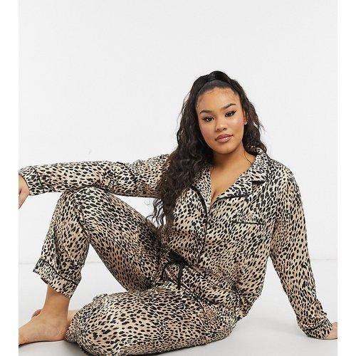 New Look Curve - Ensemble de pyjama en satin à imprimé animal - New Look Plus - Modalova