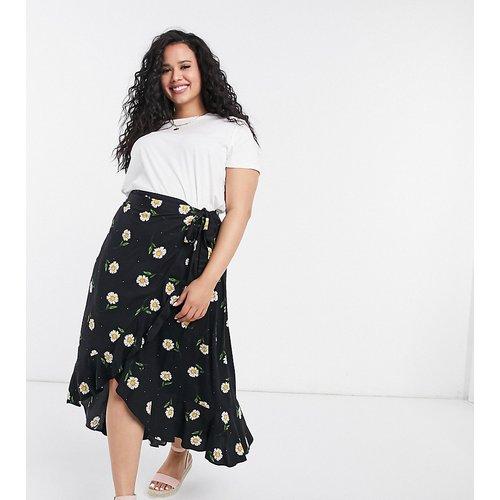 New Look Curve - Jupe portefeuille mi-longue à volants et motifs - New Look Plus - Modalova