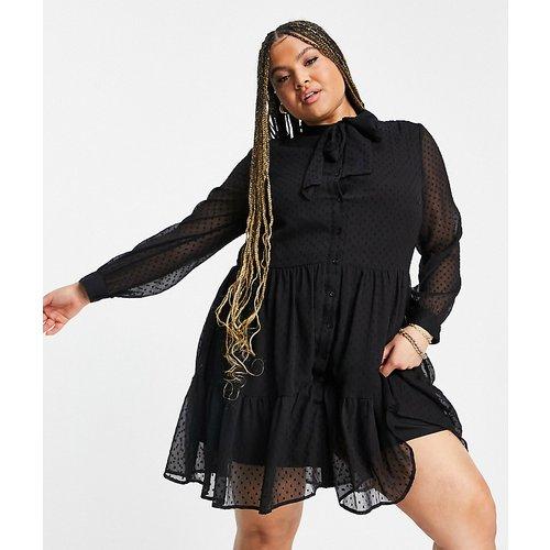 Robe babydoll en mousseline avec col lavallière - New Look Curve - Modalova
