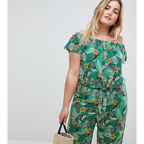 New Look Curve - Top style Bardot à imprimé tropical et liens sur le devant - New Look Plus - Modalova
