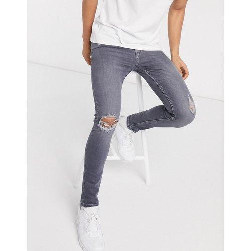 Jean super skinny à abrasions - Délavé gris moyen - New Look - Modalova