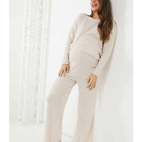 Pantalon large en maille côtelée (ensemble) - New Look Maternity - Modalova