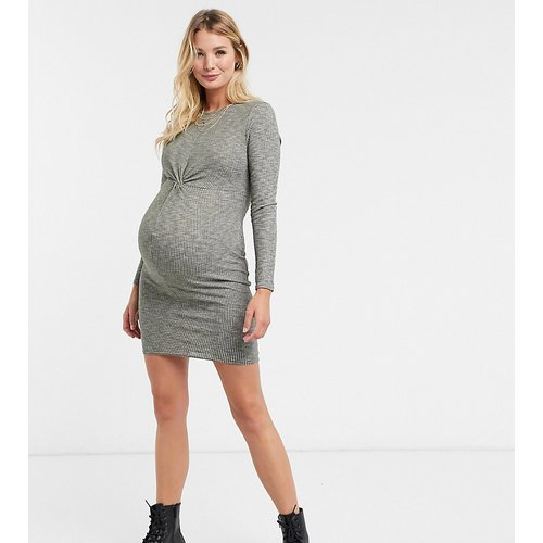 Robe en maille avec torsade sur le devant - Kaki - New Look Maternity - Modalova