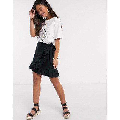 Mini-jupe portefeuille à volants en popeline - New Look - Modalova