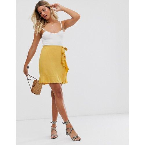 Mini-jupe portefeuille à volants - Jaune - New Look - Modalova