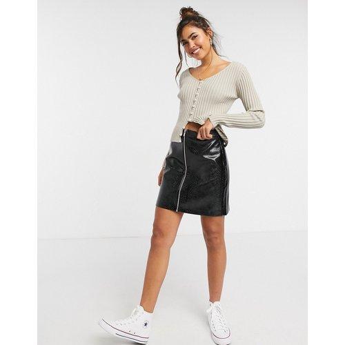 Mini-jupe zippée imitattion croco - New Look - Modalova
