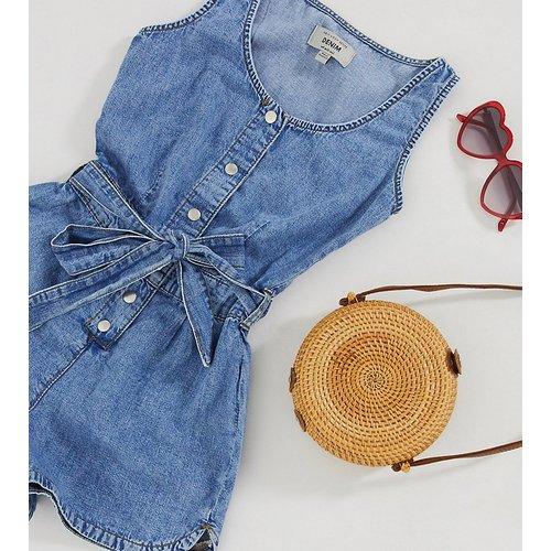 Combishort en jean noué à la taille - moyen - New Look Petite - Modalova