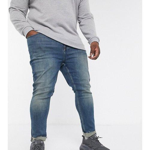 Plus - Jean skinny stretch effet découpé - Bleu délavé foncé - New Look - Modalova
