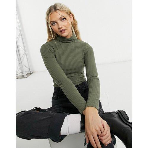 Pull côtelé à col roulé - Kaki foncé - New Look - Modalova