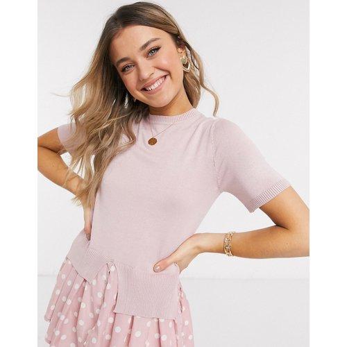 Pull en tricot fin avec doublure effet chemise à pois - New Look - Modalova
