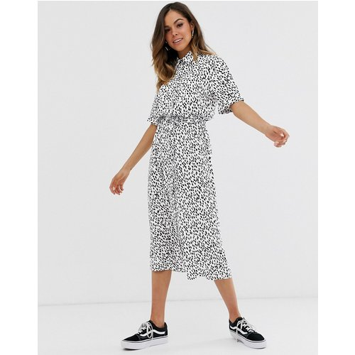 Robe chemise mi-longue à pois - New Look - Modalova