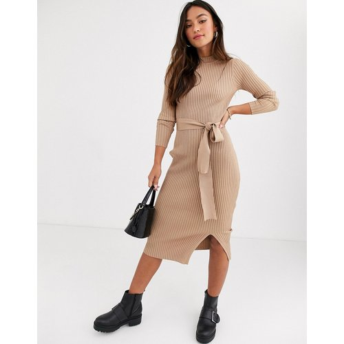 Robe longue en maille avec lien à la taille - Avoine - New Look - Modalova