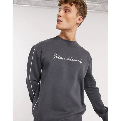 Sweat-shirt à passepoils et broderies - New Look - Modalova