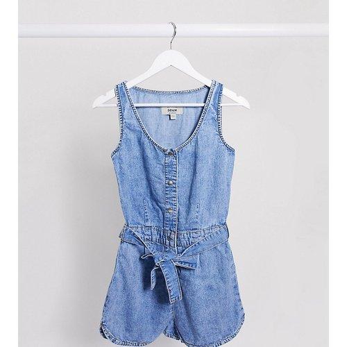 Combishort en jean avec lien à la taille - moyen - New Look Tall - Modalova