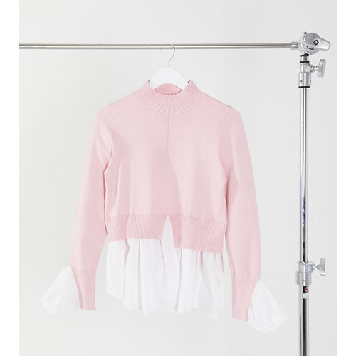 Pull 2 en 1 avec effet sous-chemise - clair - New Look Tall - Modalova