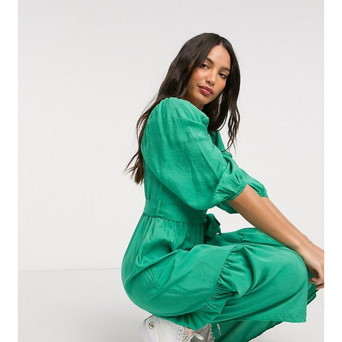Robe mi-longue à manches bouffantes avec encolure carrée - moyen - New Look Tall - Modalova