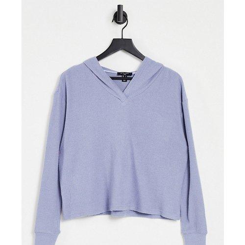 Top à capuche en tissu côtelé doux - Bleu - New Look Tall - Modalova