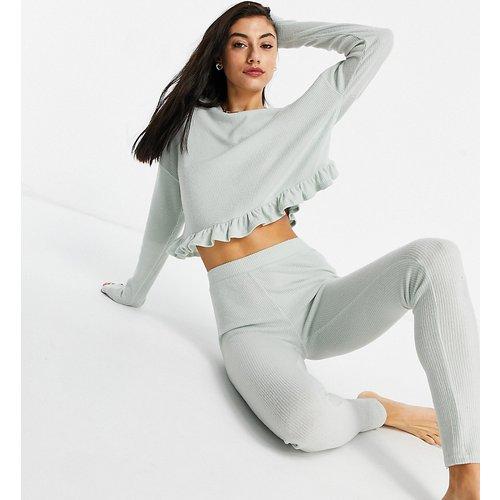 Top confort côtelé avec volants - Menthe - New Look Tall - Modalova