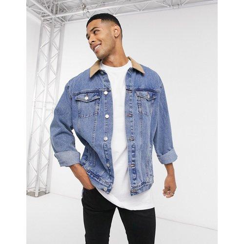 Veste en jean avec col en velours côtelé à délavage moyen - New Look - Modalova