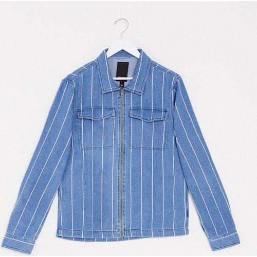 Veste en jean style chemise à rayures fines - New Look - Modalova