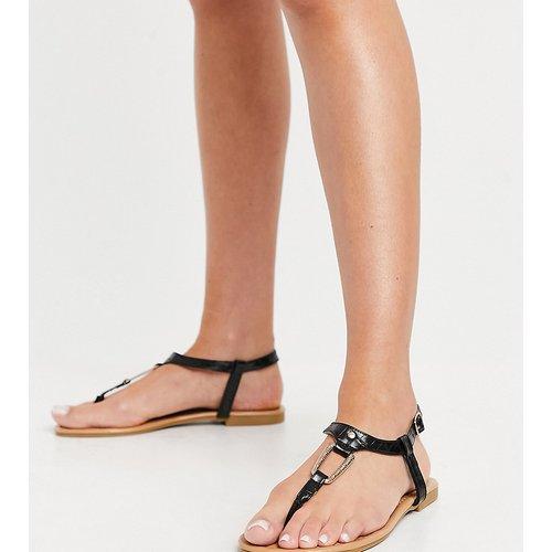 Sandales plates à bout carré et anneau fantaisie - New Look Wide Fit - Modalova