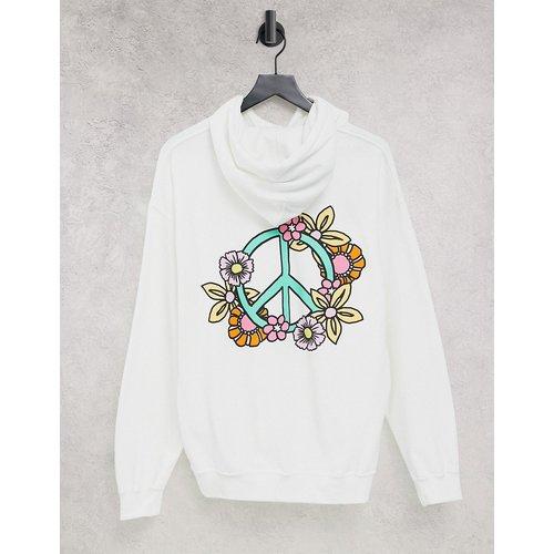 Hoodie à symbole paix avec fleurs - New Love Club - Modalova