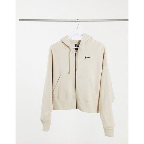 Hoodie court oversize avec petit logo virgule et fermeture éclair - Avoine - Nike - Modalova