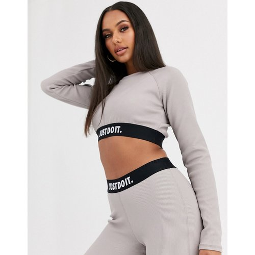 Just Do It - Crop top côtelé à manches longues - Nike - Modalova