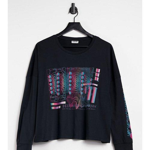 Exclusivité- T-shirt crop top oversize avec motif et imprimé sur la manche - Noisy May Curve - Modalova