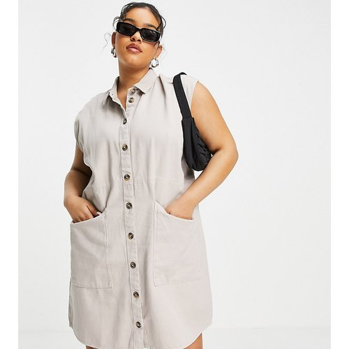 Robe chemise en jean - Taupe - Noisy May Curve - Modalova