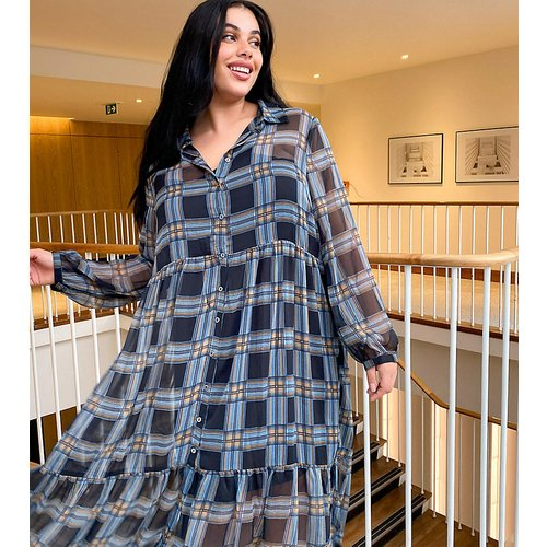 Robe chemise longue à volants - Carreaux - Noisy May Curve - Modalova