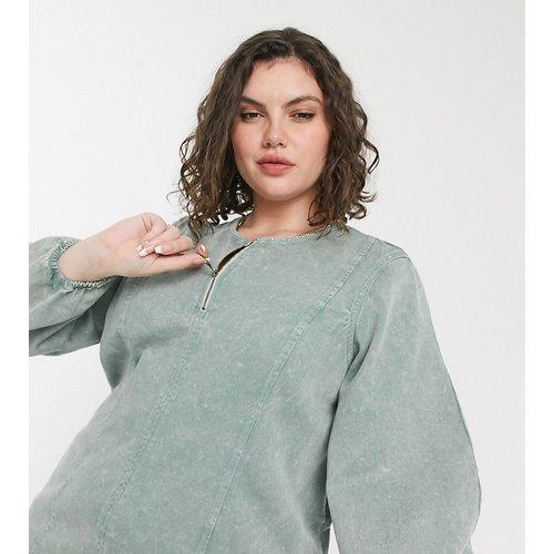 Robe courte en jean zippée sur le devant - délavé - Noisy May Curve - Modalova