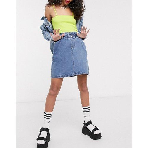 Mini-jupe en jean à taille haute froncée - Noisy May - Modalova