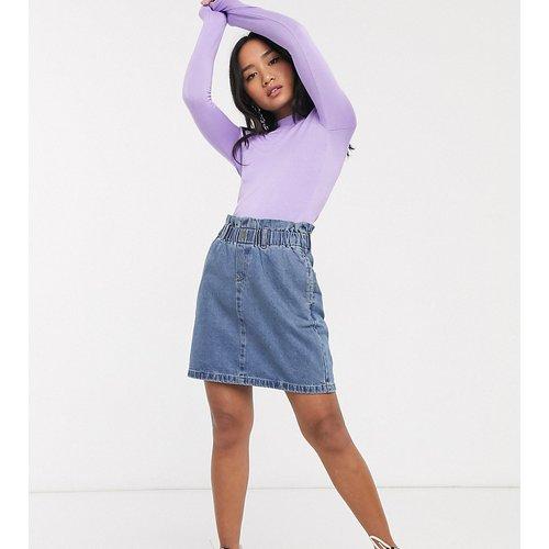 Mini-jupe en jean à taille haute froncée - moyen - Noisy May Petite - Modalova