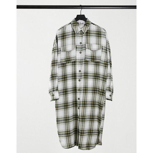Robe chemise longue à carreaux - Blanc - Noisy May - Modalova