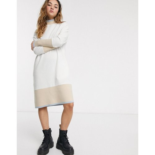 Robe sweat-shirt mi-longue à bordures contrastantes - Crème - Noisy May - Modalova