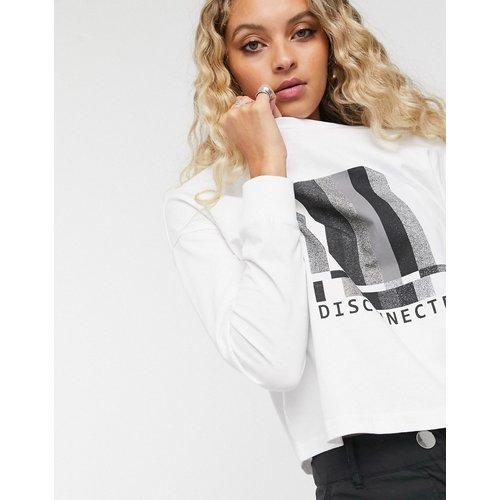 T-shirt à logo à manches longues et épaules tombantes - Noisy May - Modalova