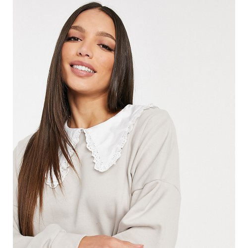 Sweat-shirt avec col fantaisie - Taupe - Noisy May Tall - Modalova