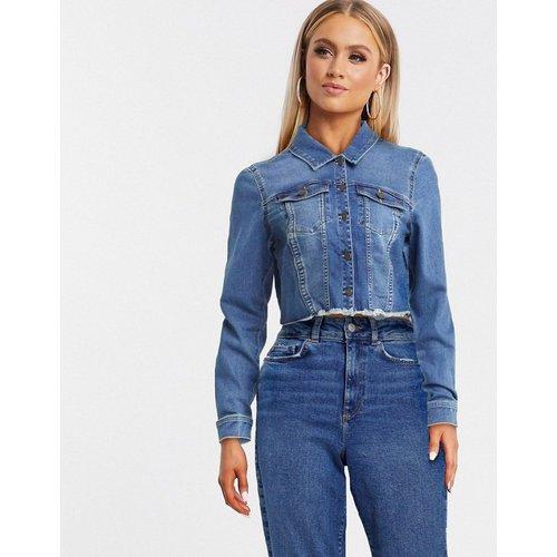 Veste courte en jean à ourlet brut - foncé - Noisy May - Modalova