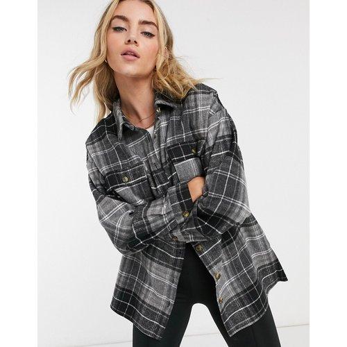 Veste façon chemise oversize à carreaux - Gris foncé - Noisy May - Modalova